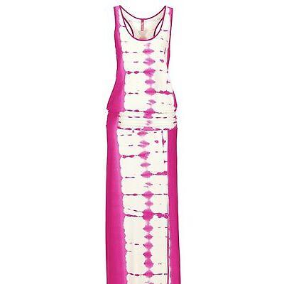 Damen Maxi Kleid Viskose Stretch pink weiß 32 34 36 38 40 42 44 46 neu 13127