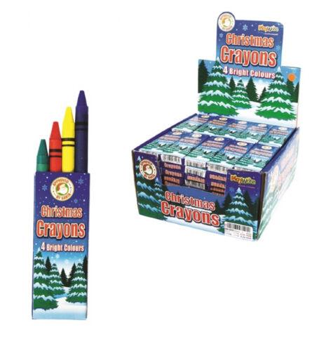 Pack de 4 noël crayons de cire sac fête stocking filler cadeau