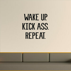 Vinyl Wall Art Decal Wake Up Kick A$s Be Kind Repeat Motivational Life Quote for Home Bedroom Living Room Modern Quotes for Indoor Outdoor Apartment Dorm Room Decor 18 x 22.5