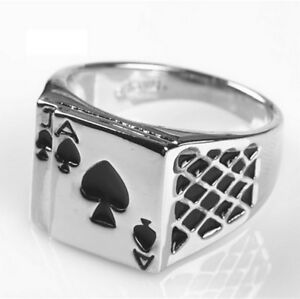 Chevaliere-bague-As-de-pique-porte-bonheur-pour-fan-de-poker-multi-tailles