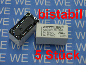 5Stueck-Relais-bistabil-2xUm-3V-5V-12V-24V-DC-AZ832-Zettler