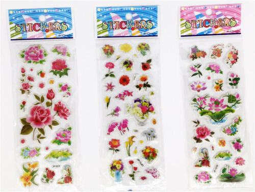 "3 sheets 3D Embellishments  PVC STICKERS LOT""FLOWERS"" Kids favor party GIFT"