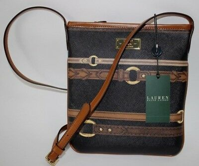 1fb152cc55 NWT $128 RALPH LAUREN Med Black/Brown Horse bit BRINKLEY Leather ...