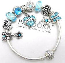 Authentic Pandora Silver Charm Bracelet With Mom Love Family European Charms...