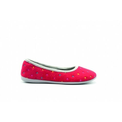 Padders BALLERINA Ladies Womens Soft Warm Felt Wide E Fit Slippers Red Combi