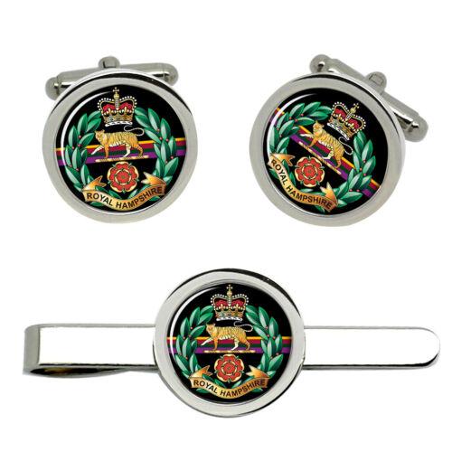 British Army Gemelos y clip de corbata Set Royal Regimiento de Hampshire