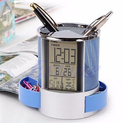 Digital LCD Desk ALarm Clock & Mesh Pen Pencil Holder Time Temp Calendar Office