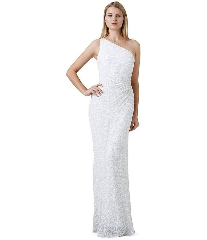 Adrianna Papell Ivory Beaded One-Shoulder Gown - NWT Size 12
