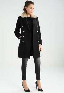 Topshop Fur Collar Coat Black Slim Petite Nancy Boyfriend Jacket 4 to 16