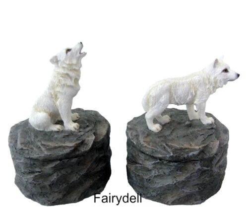 /'LOYAL GUARDIANS/'  SET OF 2 ORNAMENTAL WOLF TRINKET UNISEX STASH POTS ~ WOLVES