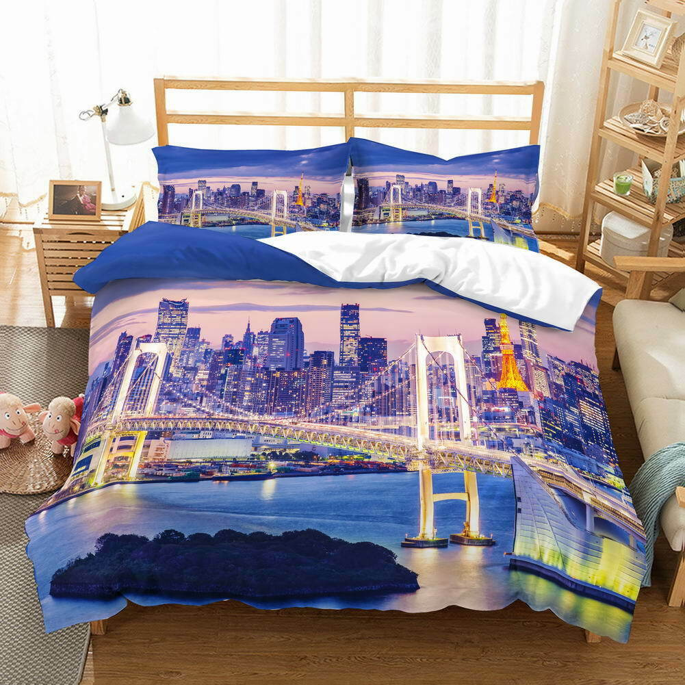 Bridge Blau River 3D Quilt Duvet Doona Cover Set Single Double Queen King Print