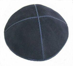 Simple-Blue-Suede-Yarmulke-Kippah-16-cm-diameter-Jewish-Kippa-Judaica-Hat-Cap