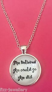 She-Believed-She-Could-So-She-Did-Silver-Pendant-Glass-Necklace-New-in-Gift-Bag