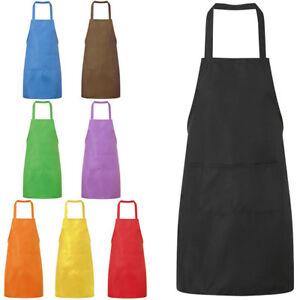 Cn _ Unisex Liso de Cocina Catering Trabajo Delantal con Doble Bolsillo