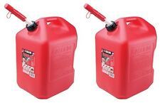 (2) Midwest 6600 6 Gallon Red Plastic Gas Cans Containers w Spill Proof Spouts