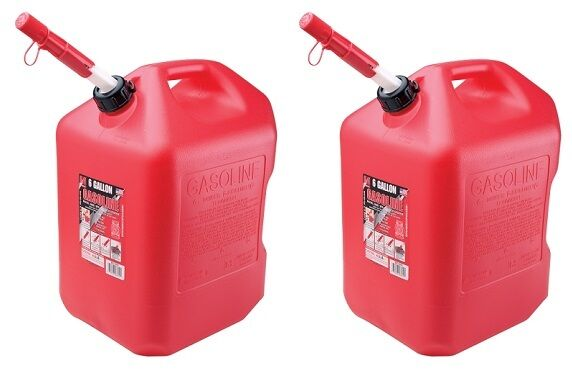 Plastic Gas Cans >> Midwest 6610 6 Gallon Red Plastic Gas Can Containers With Spill Proof Spout