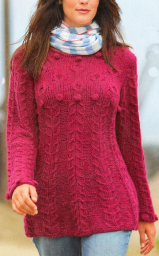 Womans Ladies Sweater Cables-Bobbles /& Bobble Cuffs Chunky Wool Knitting Pattern