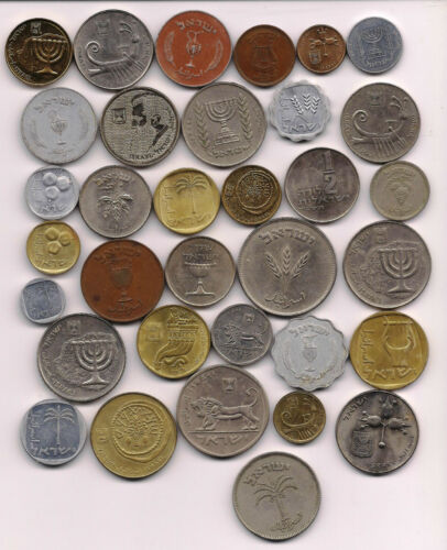 Israel 1949-2011 lot of 34 assorted coins