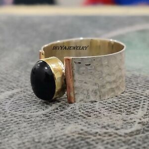 Black-Onyx-Solid-925-Sterling-Silver-Band-Ring-Meditation-Ring-Size-ra-616