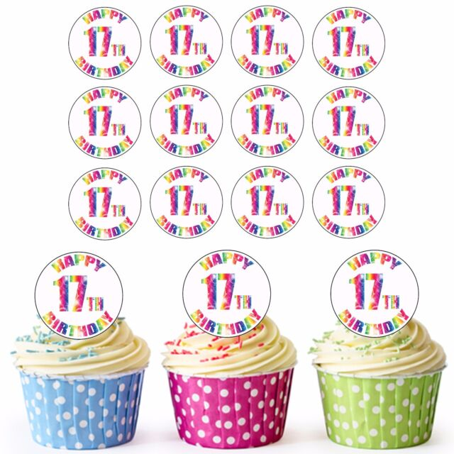 24 Pre Cut Happy 17th Birthday Cupcake Toppers Decorations Daughter Son Girl Boy