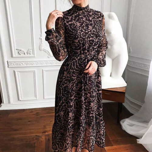 Damen Blumen Stehkragen Partykleid Sommerkleid Langarm Abendkleid Midikleid DE
