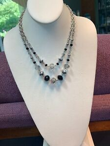 Silver Two Strand Glass Crystal Bead Layered 2 Strand Necklace Black Grey Clear