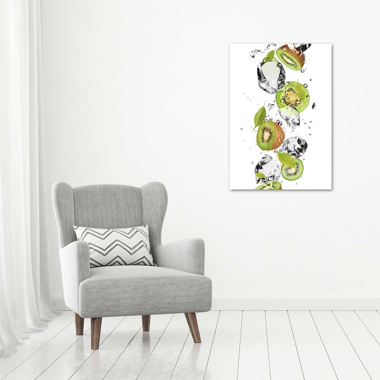 Wand-Bild Kunstdruck aus Acryl-Glas Hochformat 70x100 Kiwi und Wasser