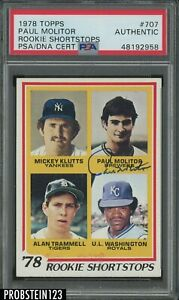 1978 TOPPS #707 PAUL MOLITOR SIGNED/AUTO ROOKIE CARD RC PSA/DNA CERTIFIED BREWER
