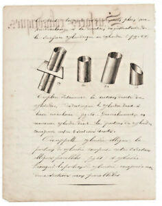 1880-math-manuscript-document-amazing-handmade-3D-cylinder-surface-illustrations
