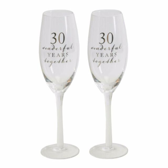 """30th  Pearl  """"Amore""""  Champagne Glasses Flutes Wedding Anniversary Gift"""