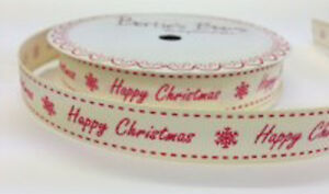 Bertie-039-s-Bows-Happy-Christmas-16mm-Ivory-Grosgrain-Ribbon-on-3m-Roll