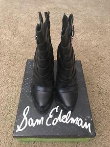 Sam-Edelman-Kendrix-Black-Suede-Leather-Upper-Size-8M-Color-Black