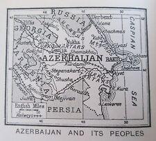 vintage 1934 mini map Azerbaijan and peoples Kurds Tatars Turks ethnic groups