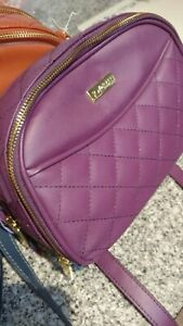 Joy-amp-Iman-Diamond-Quilted-Genuine-Leather-Crossbody-Bag-PURPLE-ONLY