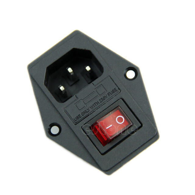 1Pc New Black Red AC 250V 10A 3 Terminal Power Socket with Fuse Holder