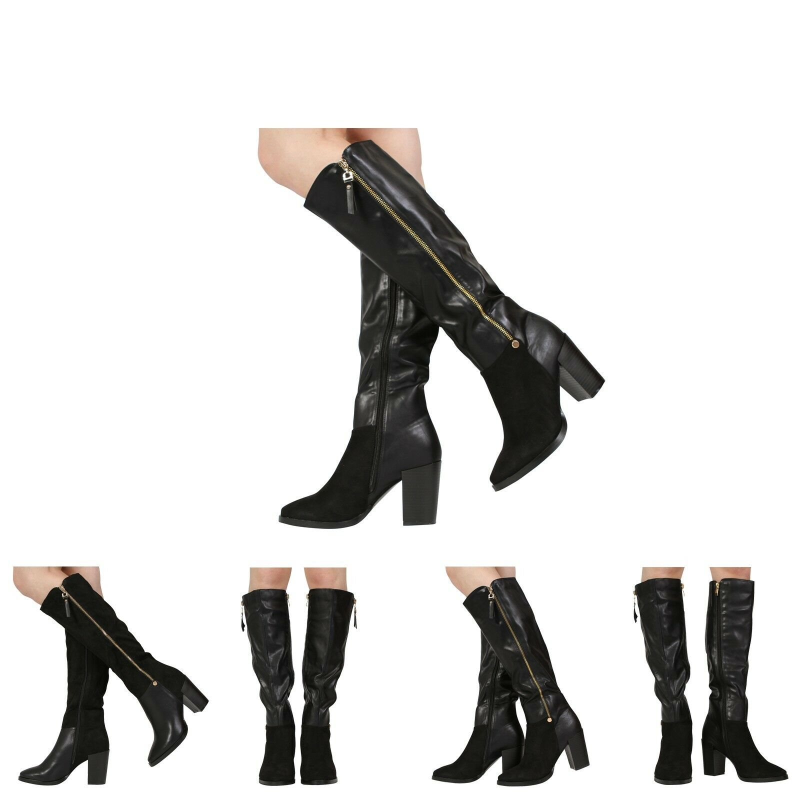 NEW WOMENS LADIES BLOCK HIGH HEEL CALF KNEE RIDING WINTER BOOTS SHOES SIZE 3-8