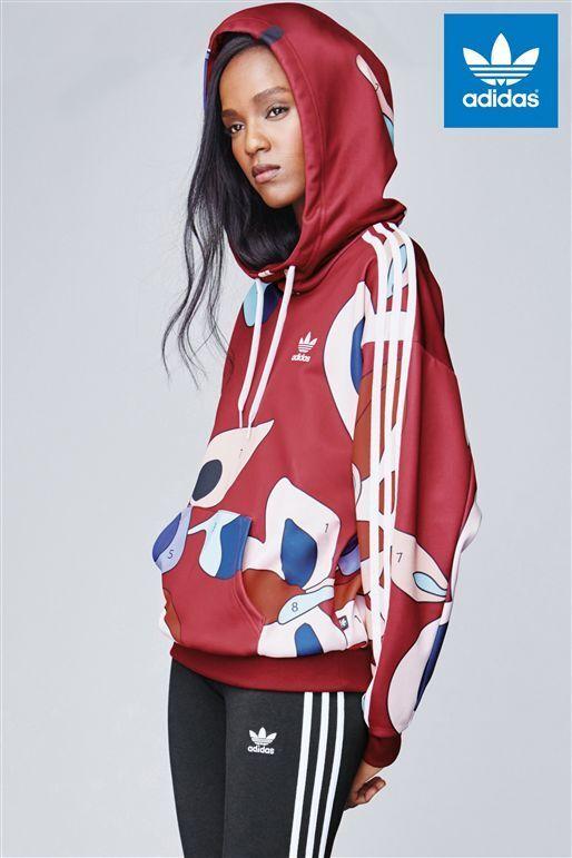 Adidas Originals W Rita Ora Number Print Burgundy Hoodie Size (654)