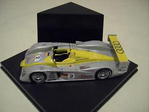 AUDI-R8-2-circuit-24h-LE-MANS-gris-jaune-1-43-voiture-miniature-de-collection