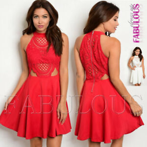 New-Mock-Neck-Sleeveless-Lace-Babydoll-Trendy-Summer-Dress-Size-8-10-12-S-M-L