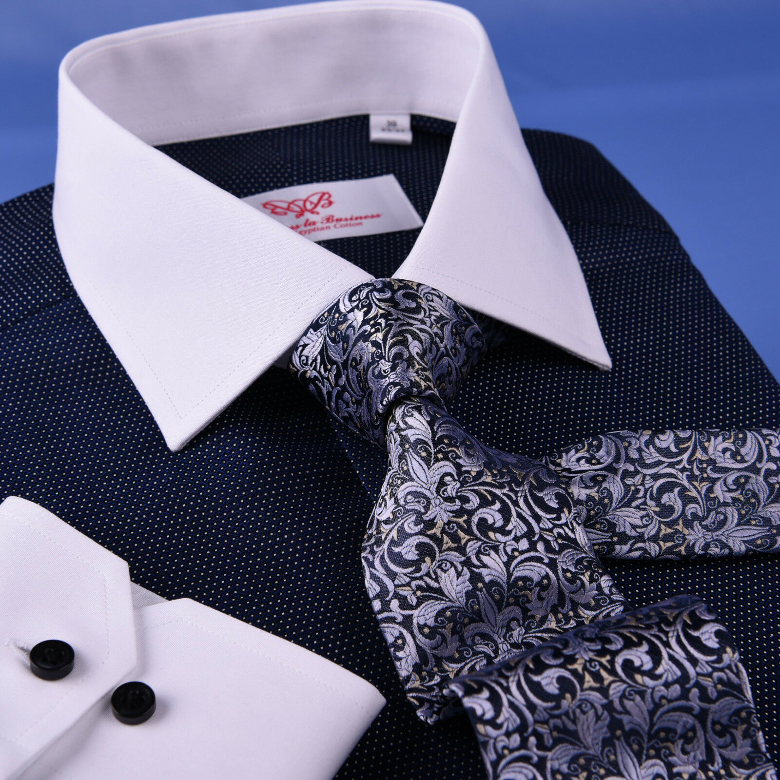 Dark Navy DOT With Weiß Contrast Collar & Cuff For Formal Geschäft Dress Shirt
