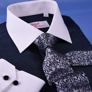 Dark-Navy-DOT-With-White-Contrast-Collar-amp-Cuff-For-Formal-Business-Dress-Shirt