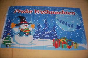 Frohe Weihnachten Schneemann Rentier Christmas Fahne Hißflagge  150 x 90 cm