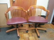Yale Law School Nostalgia Office Conference Rolling Wood Chairs Withvinyl Cushions