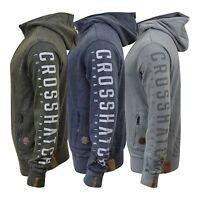 Mens Hoodie Crosshatch Double Zip Up Neck Sweatshirt Kang Pocket Sweater