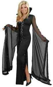 Elegant Sequin Witch Wicked Black Fancy Dress Up Halloween Sexy Adult Costume - eBay