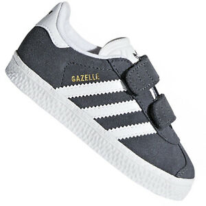 Detalles de Adidas Originals Gazelle Cf Zapatillas Gamuza Niños Zapatos CQ3140 Gris Blanco