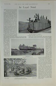 1899 PRINT ARMOURED TRAIN BLUEJACKETS MARINES ARMY CORPS ARRICALS ROSLIN CASTLE
