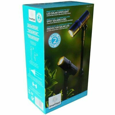 SmartYard LED Solar Spotlight 2 Pack Convertible Height /& Adjustable Focus Pre
