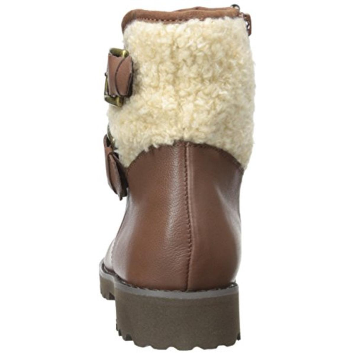 New EAST EAST EAST SPIRIT Brown Leather Brower Faux Fur Ankle Short Boots Booties 7.5 Med d3e522