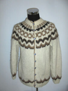 vintage Island Strickjacke iceland sweaters Wolle Hippie natur oldschool lopi XL